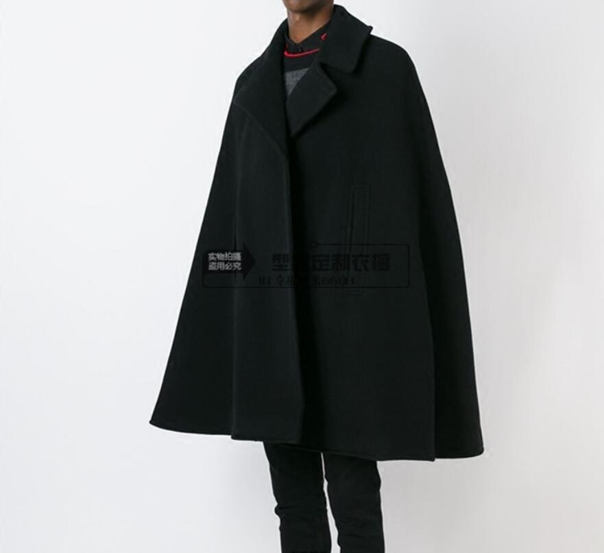 Customize style New fashion Men cape coat loose long woollen overcoat woolen cloth thick coat autumn winter clothing