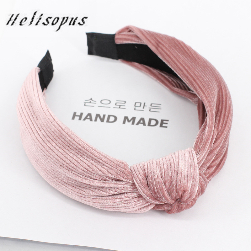 Helisopus Autumn Knotted Retro Velvet Hairband Fashion 7 Colors Sweet Solid Color Turban Elastic Headband Hair Accessories
