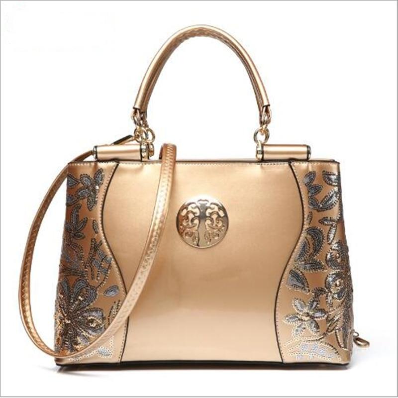 2017 Women Patent Leather Handbag Luxury Sequins Embroidery Shoulder Bag Famous Brand Ladies Neverfull Messenger Bag Crossbody patent leather handbag shoulder bag for women