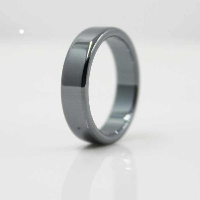 Fashion Jewelry High Quality smooth 6 mm Width Flat Hematite Rings