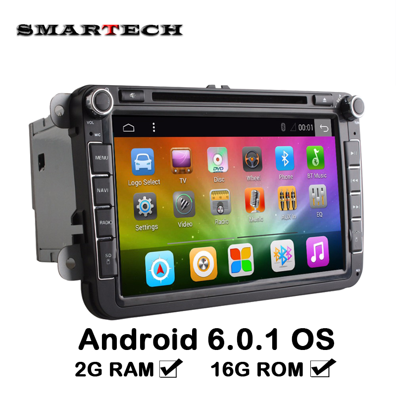 VW Radio 2G RAM 2 Din Android 6.0 Quad Core 1024*600 Car DVD Player Stereo For VW Skoda POLO GOLF PASSAT CC JETTA Steering Wheel joyous 8 hd capacitive android 4 2 stereo car dvd player w gps navi for vw passat seat skoda