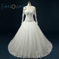 Real Photo Lace Wedding Dress With Wrap Ball Gown Wedding Dress 2017 Long sleeve Vestido de novia plus size Robe de Mariage