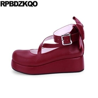 cross strap white plus size 12 44 platform big women shoes 45 33 bow japanese wine red 11 43 wedge female round toe lolita ankle