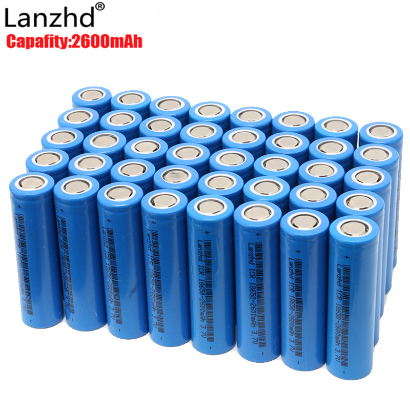 40pcs 18650 battery 3.7V Rechargeable Batteries li-ion 2600mAh ICR18650 lithium ICR 26F batteries for Led Flashlight Newest 2 10pcs pack 18500 3 7v rechargeable lithium ion battery icr li ion cell 1000mah flat top for led speaker led flashlight torch