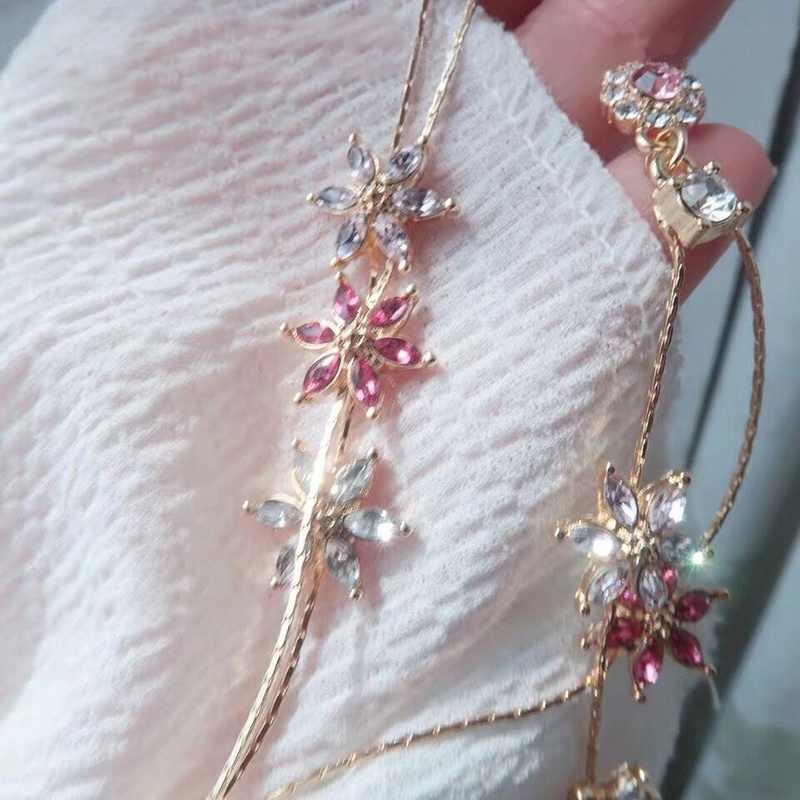 MENGJIQIAO 2019 חדש קוריאני קריסטל ורוד פרח ציצית ארוך זרוק עגילים לנשים גיאומטרי אלגנטי להתנדנד Pendientes מתנות