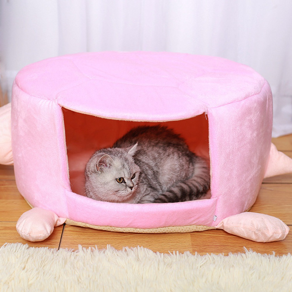 Cat Supplies Pet Products Cat House Bed Kennel Turtle Shape Velvet Cotton Soft Warm Winter House For Small Dog Kitten Foldable Cat Bed Sofa Mat Cushion