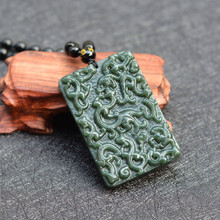 (certificate)Real Natural Green Hetian Nephrite Hand-Carved Chinese dragon Pendant Necklace Gift for Fashion Men's Jades Jewelry