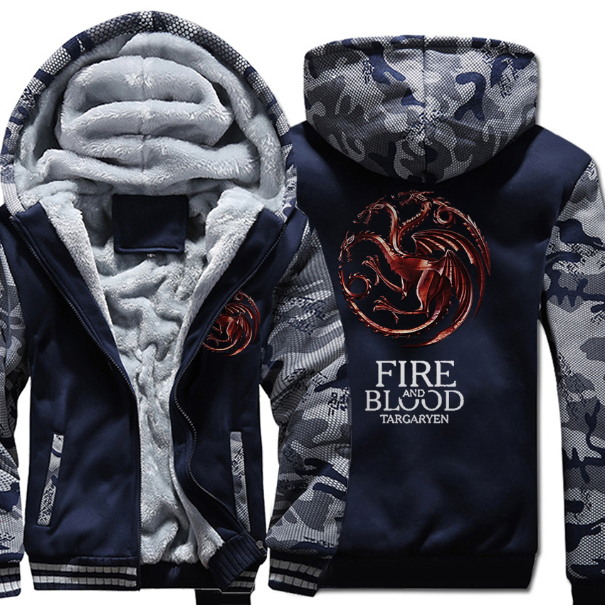 Image 2 - FIRE AND BLOOD Print Hoodies For Men 2019 Autumn Winter  Streetwear Mens Sweatshirts Game Of Thrones Hoody Targaryen Harajuku  TopHoodies