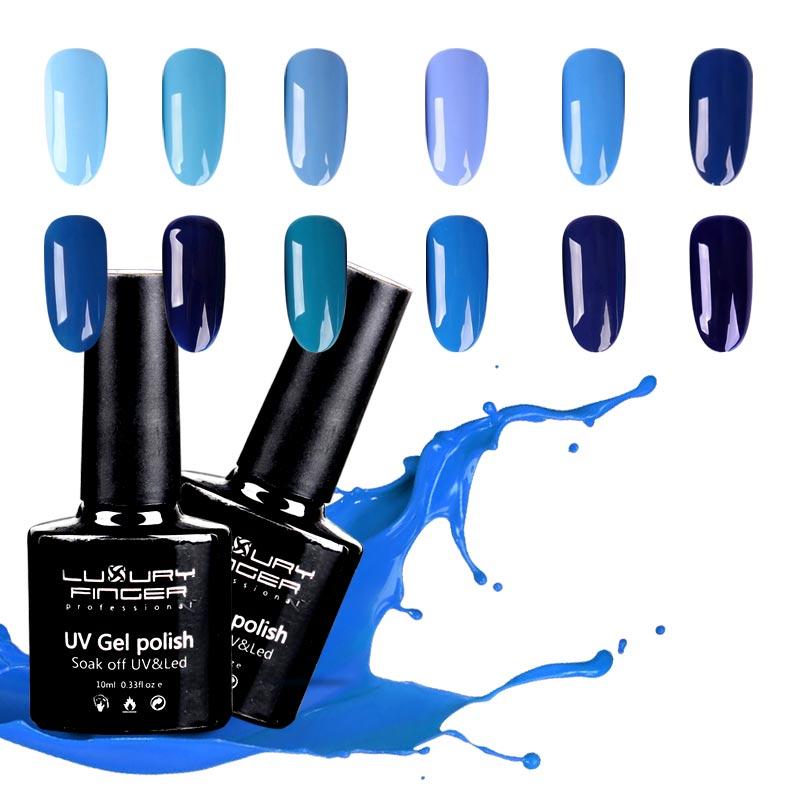 Blue Nail Polish One Finger: Luxury Finger 10ml Aegean Sea Series Blue UV Gel Nail