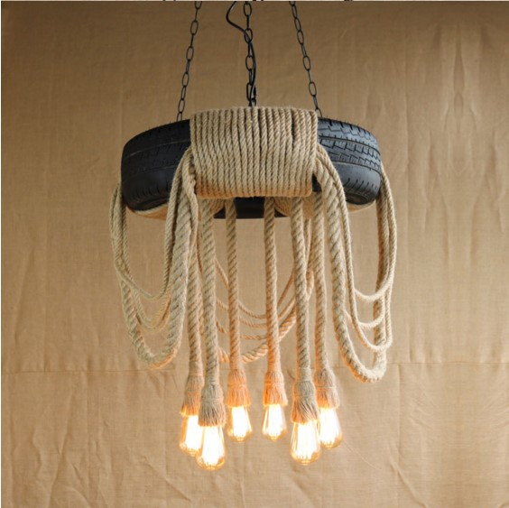 Nordic Edison Retro Loft Style Industrial Pendant Lamp Vintage With 6 Lights Fixtures Hemp Rope Tire Light Lampe Lamparas 2pcs american loft style retro lampe vintage lamp industrial pendant lighting fixtures dinning room bombilla edison lamparas