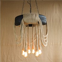 Nordic Edison Retro Loft Style Industrial Pendant Lamp Vintage With 6 Lights Fixtures Hemp Rope Tire Light Lampe Lamparas