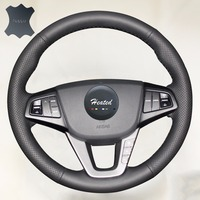 Hand Sewing Anti Slip Solid Color Nappa Genuine Leather Stitch Luxury Car Steering Wheel Cover For