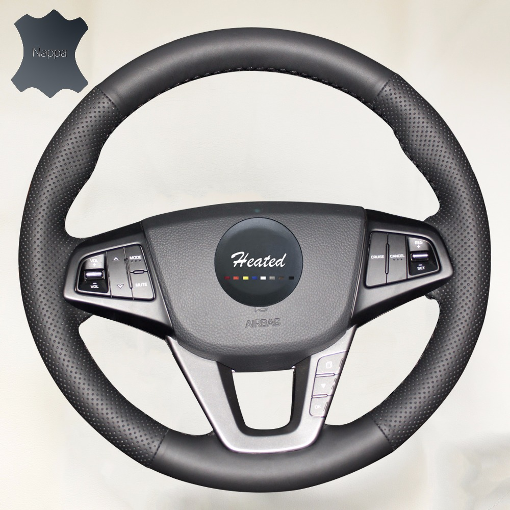 Nappa Genuine Leather Stitch Steering Wheel Cover for Hyundai Mistra 2013 2014 braid on the steering wheel