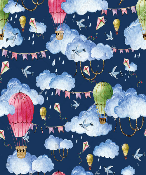 hot air balloon Watercolor clouds Backgrounds polyester or Vinyl cloth High quality Computer print wall backdrop