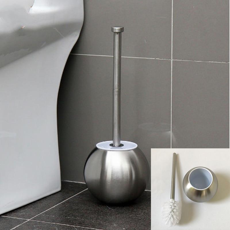 Spherical Stainless Steel Toilet Brush Holder Set