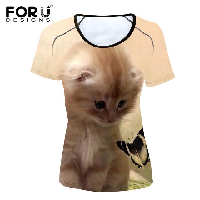 FORUDESIGNS t Shirt 3D Kawaii Women Clothes Cat Pattern Short Sleeve Polyester T Shirt Female T-shirt O-neck Fitness Casual Tees