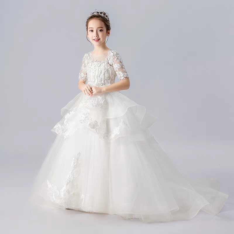 2020Spring Luxury Children Girls White Color Model Show Piano Host Long Trailing Dress Kids Teens Evening Birthday Party Dresses