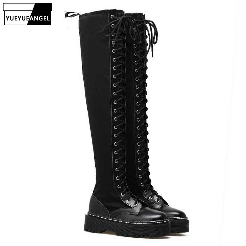 New Punks Fashion Womens Leather Platform Shoes Creepers For Woman  Lace Up Over The Knee High Riding Boots Black Stretchy BootsNew Punks Fashion Womens Leather Platform Shoes Creepers For Woman  Lace Up Over The Knee High Riding Boots Black Stretchy Boots
