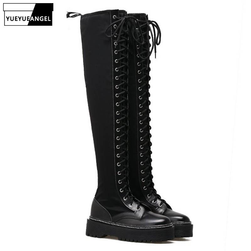 ef9df75e8ac Mujer Zapatos Encima Rodilla Botas La Encaje Punks Moda Creepers Cuero  Elástico Para Alta Por Negro Nuevo De Black Plataforma Montar B84xC8qP
