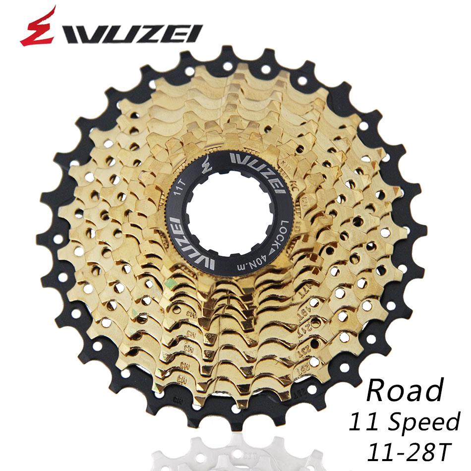 WUZEI 11Speed Freewheel ROAD Bike Parts Cassette Freewheel Golden 11 28T for Parts Shimano SRAM R9100