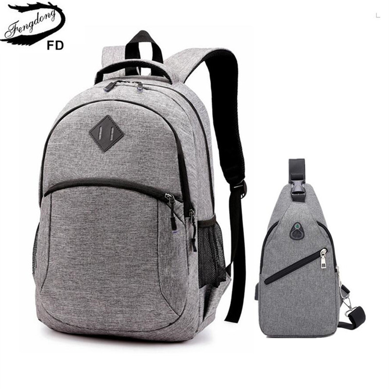 Fengdong school bags for boys student waterproof 15.6 inch laptop backpack school backpacks for teenagers sling chest bag set