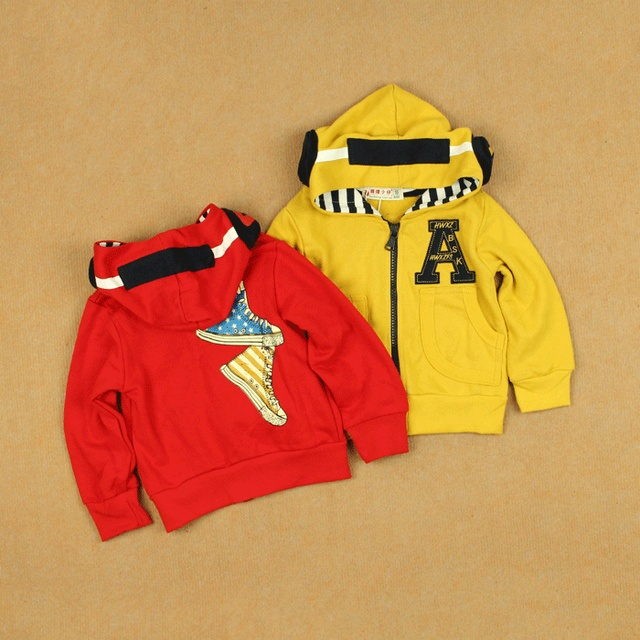 Hat earphones a all-match 100% cotton cardigan male female child baby child spring zipper sweater