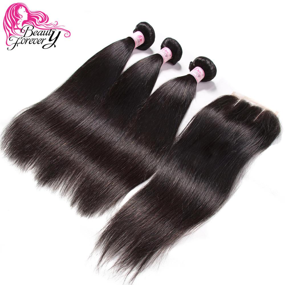 Beauty Forever Peruvian Straight Lace Closure With 3 Bundles Remy Human Hair Bundles With Closure Free