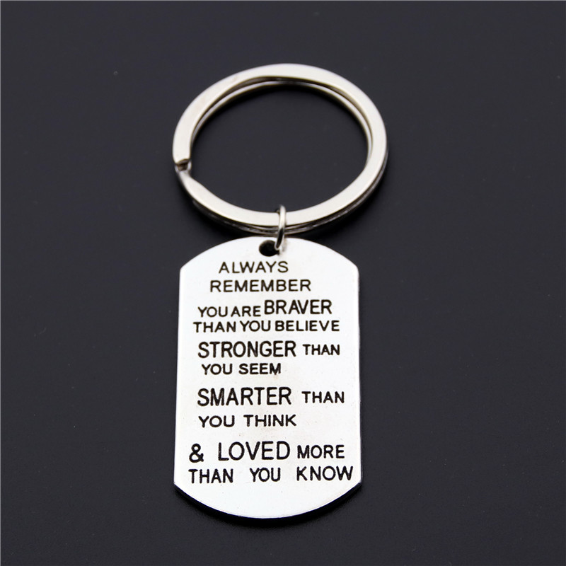 1pc Silver Tag Pendant Keychain Always Remember You Are Braver Than You Believe Stronger Than You Seem Smarter Key Ring