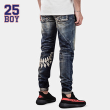 25BOY HE75DENIM Washed Selvedge Denim with Print Trendy Streetwear Premium Craft Jeans