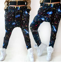 Women's HipHop Casual Colorful Tie Dye Star Pattern Harem Baggy Dance Sweat Pants Trousers Costume Fashion Clothing