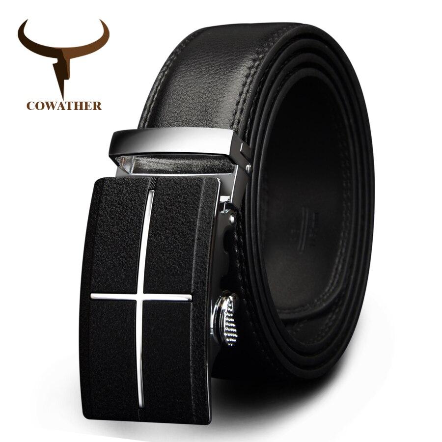 Cowather мужские пояса бренд корова натуральная кожа ремни для мужчин автоматической пряжкой черного и коричневого цвета размер 34-44 cz039