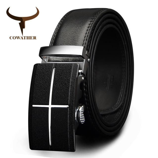 ef660a6dbcd Cowboy hommes ceinture marque vache en cuir véritable ceintures pour hommes  boucle automatique noir marron couleur
