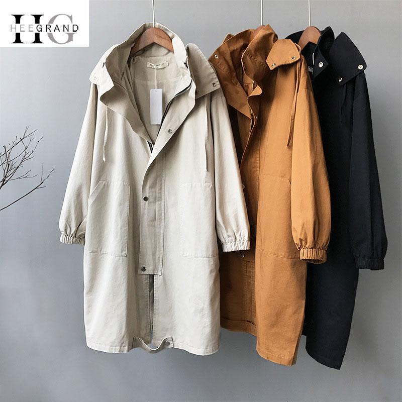 HEE GRAND Autumn Women Coat Hooded Single Breasted Slim Windbreaker Long Trench Chic Korean Harajuku Black Women Outwears WWF913