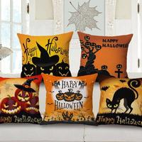 Hot Selling Halloween Pumpkin Lantern Decorative Cotton Linen Kids Throw Pillow Home Decorative Sofa Chair Seat Cushion