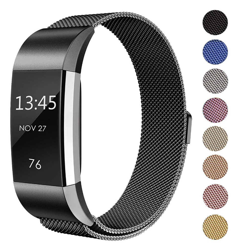 Milanese Magnetic Metal Bands For Fitbit Charge 2 Stainless Steel Replacement Wristband Small Large For Wonmen Men 9.6