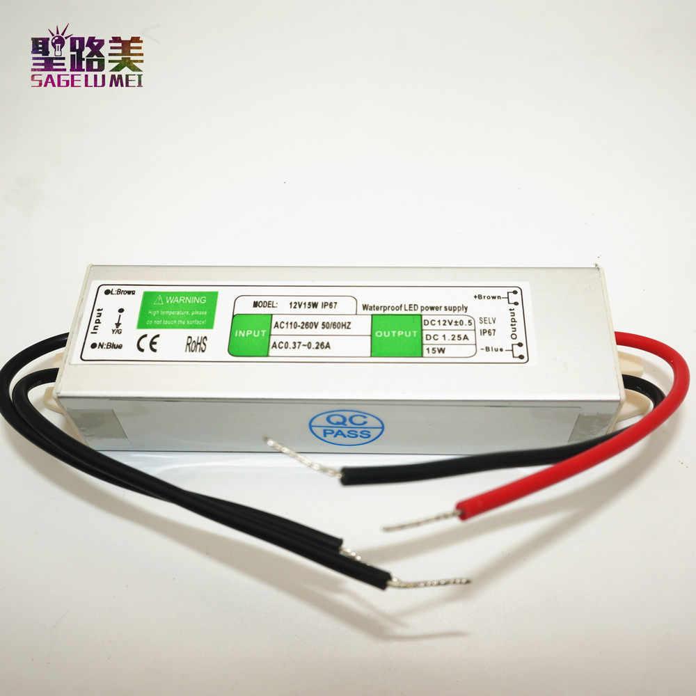 1 pièces DC12V 15W étanche IP67 Commutateur D'alimentation AC110-250V alimentation Extérieure contrôle électronique à LEDs pour 3528 5050 LED bande