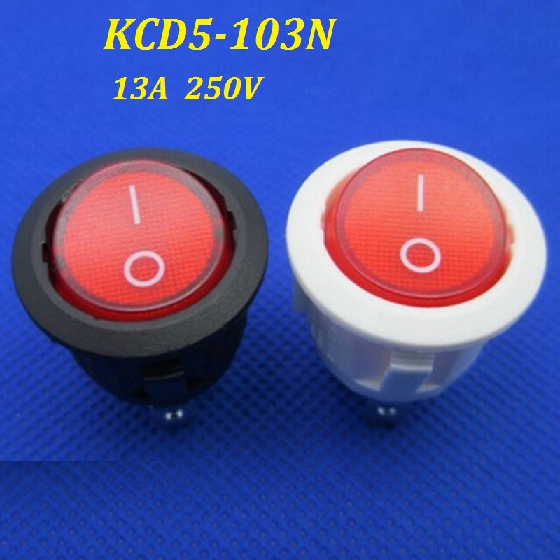 20Pcs 13A 250V On Off Rocker Round Toggle Pushbutton Switch for Small Appliances Lighting Transformers KCD5
