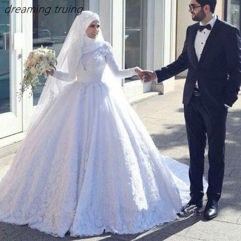 Us 399 0 Saudi Arabian Muslim White Wedding Dresses With Hijab D Luxury Lace Long Sleeve Bridal Gown Dress In