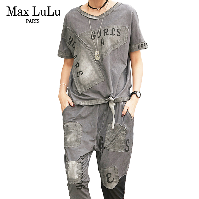 Max LuLu Summer Vintage Korean Ladies Fitness Clothes Womens Two Piece Set Crop Tops And Pants