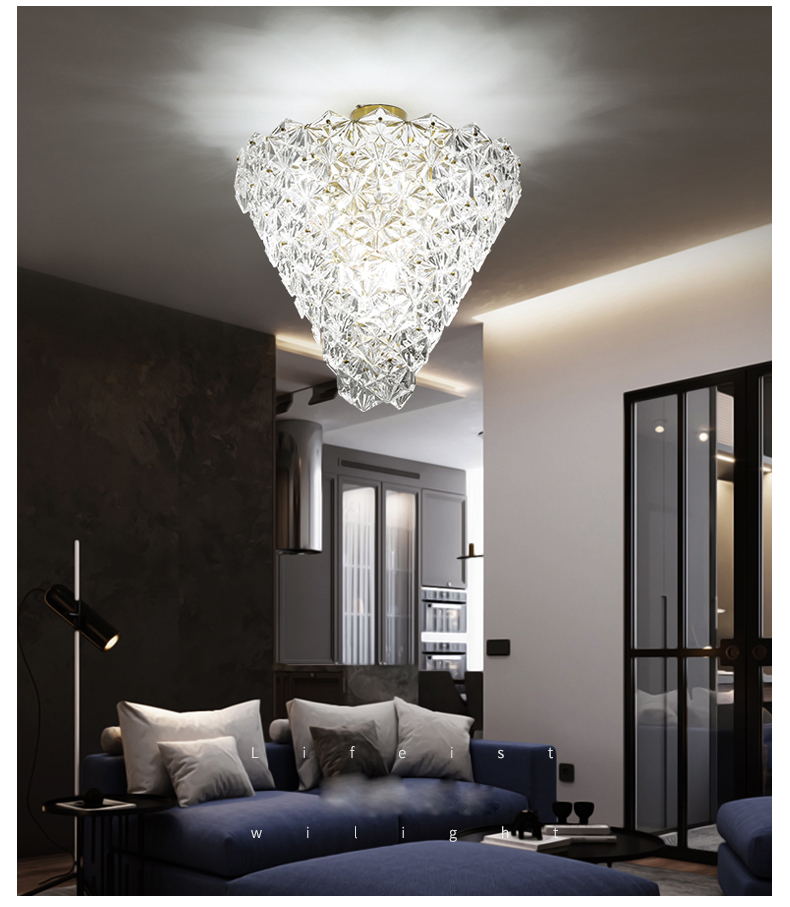Luces de techo de cristal modernas LED lámpara de techo de flor de nieve americana iluminación interior para el hogar lámpara de comedor - 5