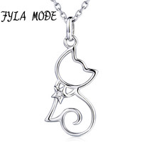 FYLA MODE Fine Jewelry Cute Cat Pendant 100 925 Sterling Silver Necklace Fashion Accessories Wedding Party