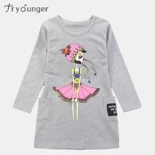ФОТО tryounger autumn dresses for girls print long sleeve girls dresses casual kids dresses teenage winter clothing girls 4-12 years
