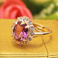 Free Shipping  Italina Rigant  Wholesale rose gold plated purple Austrian Crystal Rings Fashion Bijouterie Women's Gift
