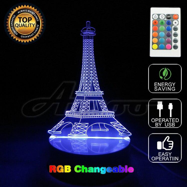 3D Illusion Colorful Eiffel <font><b>Tower</b></font> Decorations LED Lamp USB T Lamps Lights Novelty Home Decor Unique