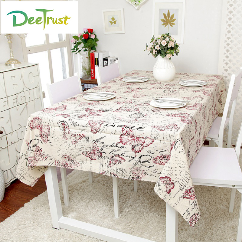 Butterfly Linen Table Cloth Letter Print Rectangle Kitchen Coffee Table Cover Home Outdoor Party