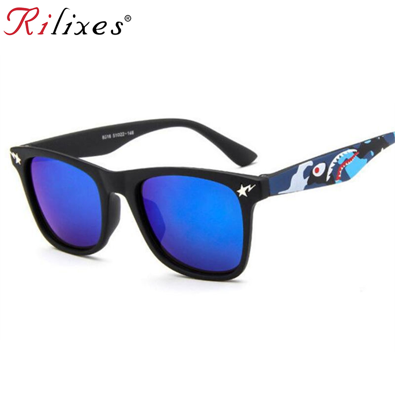 RILIXES Cool Baby Boy Girls Kids Sunglasses Top Fashion Coating Sunglasses Children Sun Glasses(China)