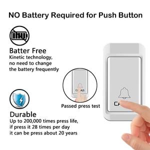 Image 2 - CACAZI sonnette sans fil auto alimentée lumière LED, étanche, sans batterie, sonnette pour maison, prise US ue UK, 38 anneaux, 1 bouton, 1 2 3 récepteurs