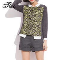 Hot Sale Lady Patchwork Knitted Sweater Size L 4XL Turn Down Collar Women Pullovers Diamond Pattern