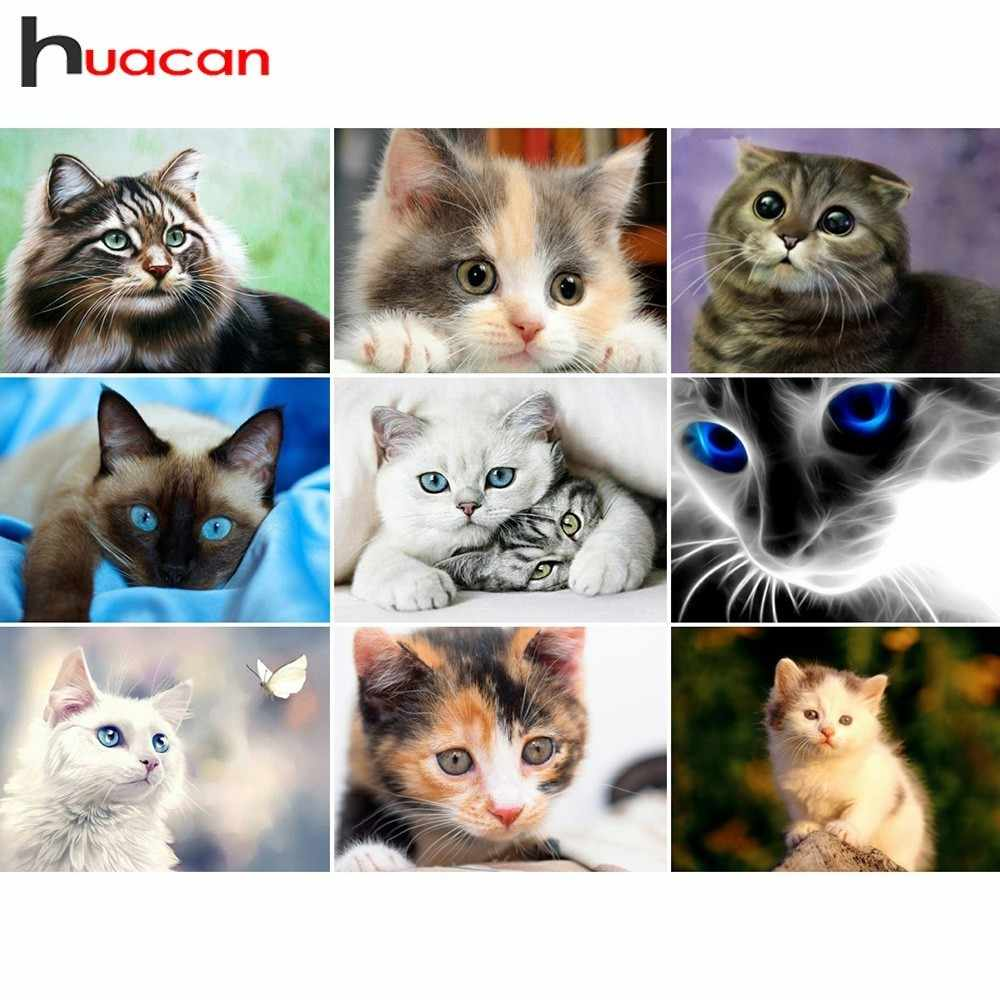 Huacan Diamond Embroidery Cats Diamond Painting Full Square Animals Rhinestones Pictures Beadwork Diamond Mosaic Wall Decor