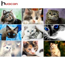 Huacan Diamond Embroidery Cats Painting Full Square Animals Rhinestones Pictures Beadwork Mosaic Wall Decor